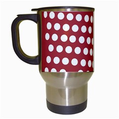 Pink White Polka Dots Travel Mugs (white) by Mariart