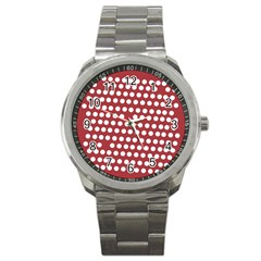 Pink White Polka Dots Sport Metal Watch by Mariart