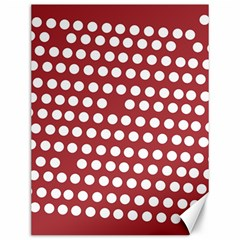 Pink White Polka Dots Canvas 12  X 16   by Mariart