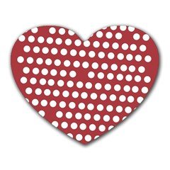 Pink White Polka Dots Heart Mousepads by Mariart