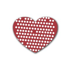 Pink White Polka Dots Heart Coaster (4 Pack)  by Mariart