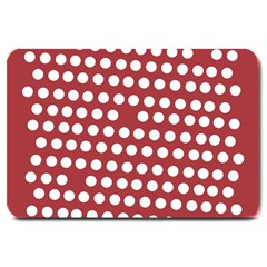 Pink White Polka Dots Large Doormat  by Mariart
