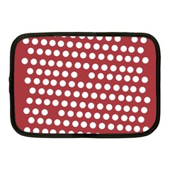 Pink White Polka Dots Netbook Case (medium)  by Mariart