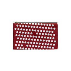 Pink White Polka Dots Cosmetic Bag (small)  by Mariart