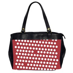 Pink White Polka Dots Office Handbags (2 Sides)  by Mariart