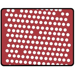 Pink White Polka Dots Fleece Blanket (medium)  by Mariart