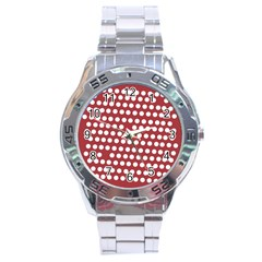 Pink White Polka Dots Stainless Steel Analogue Watch by Mariart