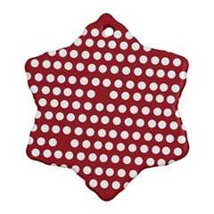 Pink White Polka Dots Ornament (snowflake) by Mariart
