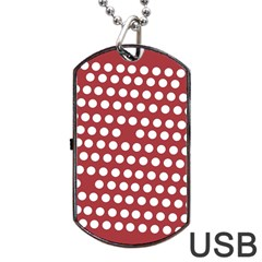 Pink White Polka Dots Dog Tag Usb Flash (one Side) by Mariart