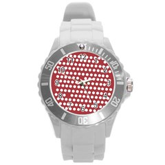 Pink White Polka Dots Round Plastic Sport Watch (l) by Mariart
