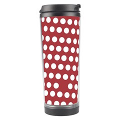 Pink White Polka Dots Travel Tumbler by Mariart