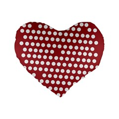 Pink White Polka Dots Standard 16  Premium Flano Heart Shape Cushions by Mariart