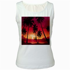 Nature Palm Trees Beach Sea Boat Sun Font Sunset Fabric Women s White Tank Top