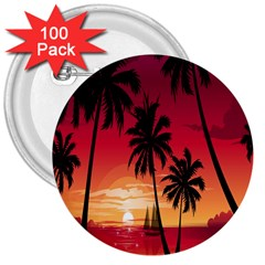 Nature Palm Trees Beach Sea Boat Sun Font Sunset Fabric 3  Buttons (100 Pack)