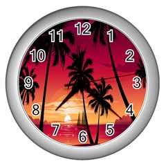 Nature Palm Trees Beach Sea Boat Sun Font Sunset Fabric Wall Clocks (silver)  by Mariart