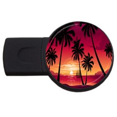 Nature Palm Trees Beach Sea Boat Sun Font Sunset Fabric Usb Flash Drive Round (4 Gb) by Mariart