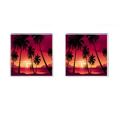 Nature Palm Trees Beach Sea Boat Sun Font Sunset Fabric Cufflinks (square) by Mariart