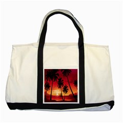 Nature Palm Trees Beach Sea Boat Sun Font Sunset Fabric Two Tone Tote Bag by Mariart