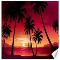 Nature Palm Trees Beach Sea Boat Sun Font Sunset Fabric Canvas 16  X 16   by Mariart