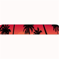 Nature Palm Trees Beach Sea Boat Sun Font Sunset Fabric Small Bar Mats by Mariart
