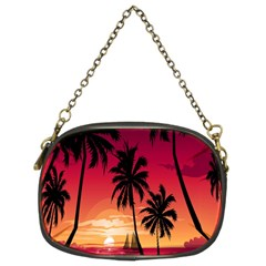 Nature Palm Trees Beach Sea Boat Sun Font Sunset Fabric Chain Purses (two Sides)  by Mariart