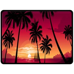 Nature Palm Trees Beach Sea Boat Sun Font Sunset Fabric Fleece Blanket (large)  by Mariart