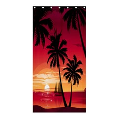 Nature Palm Trees Beach Sea Boat Sun Font Sunset Fabric Shower Curtain 36  X 72  (stall)  by Mariart