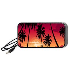 Nature Palm Trees Beach Sea Boat Sun Font Sunset Fabric Portable Speaker (black) by Mariart