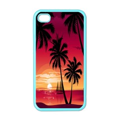 Nature Palm Trees Beach Sea Boat Sun Font Sunset Fabric Apple Iphone 4 Case (color) by Mariart