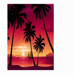 Nature Palm Trees Beach Sea Boat Sun Font Sunset Fabric Large Garden Flag (two Sides) by Mariart