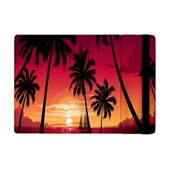 Nature Palm Trees Beach Sea Boat Sun Font Sunset Fabric Apple Ipad Mini Flip Case by Mariart