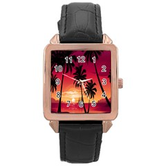Nature Palm Trees Beach Sea Boat Sun Font Sunset Fabric Rose Gold Leather Watch  by Mariart