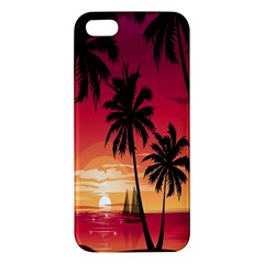 Nature Palm Trees Beach Sea Boat Sun Font Sunset Fabric Apple Iphone 5 Premium Hardshell Case by Mariart