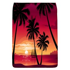 Nature Palm Trees Beach Sea Boat Sun Font Sunset Fabric Flap Covers (s)  by Mariart