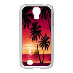 Nature Palm Trees Beach Sea Boat Sun Font Sunset Fabric Samsung Galaxy S4 I9500/ I9505 Case (white) by Mariart