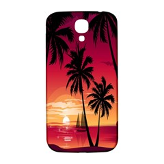 Nature Palm Trees Beach Sea Boat Sun Font Sunset Fabric Samsung Galaxy S4 I9500/i9505  Hardshell Back Case by Mariart