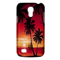 Nature Palm Trees Beach Sea Boat Sun Font Sunset Fabric Galaxy S4 Mini by Mariart