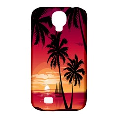 Nature Palm Trees Beach Sea Boat Sun Font Sunset Fabric Samsung Galaxy S4 Classic Hardshell Case (pc+silicone) by Mariart