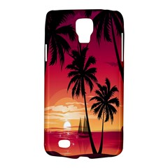 Nature Palm Trees Beach Sea Boat Sun Font Sunset Fabric Galaxy S4 Active by Mariart
