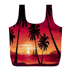 Nature Palm Trees Beach Sea Boat Sun Font Sunset Fabric Full Print Recycle Bags (l)  by Mariart