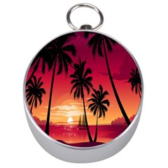 Nature Palm Trees Beach Sea Boat Sun Font Sunset Fabric Silver Compasses by Mariart