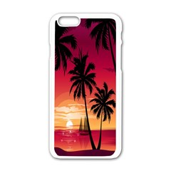 Nature Palm Trees Beach Sea Boat Sun Font Sunset Fabric Apple Iphone 6/6s White Enamel Case by Mariart