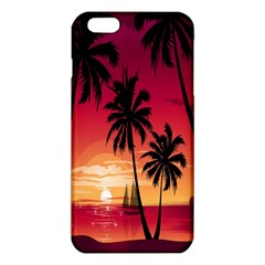 Nature Palm Trees Beach Sea Boat Sun Font Sunset Fabric Iphone 6 Plus/6s Plus Tpu Case by Mariart