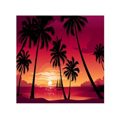 Nature Palm Trees Beach Sea Boat Sun Font Sunset Fabric Small Satin Scarf (square) by Mariart
