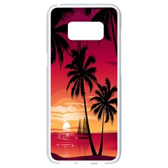 Nature Palm Trees Beach Sea Boat Sun Font Sunset Fabric Samsung Galaxy S8 White Seamless Case by Mariart