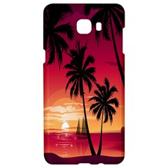 Nature Palm Trees Beach Sea Boat Sun Font Sunset Fabric Samsung C9 Pro Hardshell Case  by Mariart