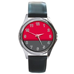 Red Gray Flag Line Horizontal Round Metal Watch by Mariart