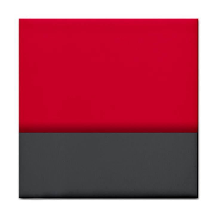 Red Gray Flag Line Horizontal Tile Coasters