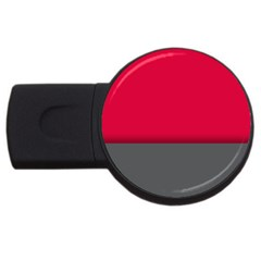 Red Gray Flag Line Horizontal Usb Flash Drive Round (4 Gb) by Mariart