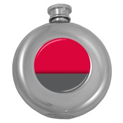 Red Gray Flag Line Horizontal Round Hip Flask (5 Oz) by Mariart